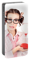 Isolated Business Person With Hourglass Time Clock Portable Battery Charger