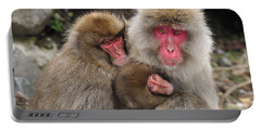 Japanese Macaque Mother With Young Portable Battery Charger