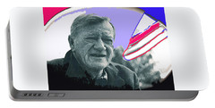 Portable Battery Charger featuring the photograph John Wayne Out Of Costume With Flag by David Lee Guss