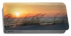Lake Michigan Sunset Panorama Portable Battery Charger