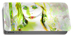 Portable Battery Charger featuring the digital art Lily Lime by Kim Prowse