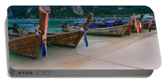 Longtail Boats Moored On The Beach Portable Battery Charger