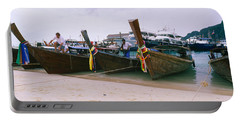 Longtail Boats Moored On The Beach, Ton Portable Battery Charger