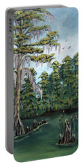 Portable Battery Charger featuring the painting Louisiana Cypress by Suzanne Theis