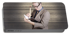 Male Administration Clerk Writing Diary Notes Portable Battery Charger