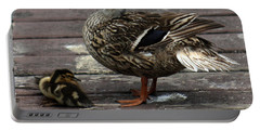 Mama Duck And Ducklings Portable Battery Charger by Pamela Walton