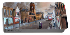 Portable Battery Charger featuring the painting Market Street - Stourbridge by Ken Wood