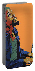 Portable Battery Charger featuring the painting Marvin Gaye by Rachel Natalie Rawlins
