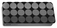 Mod Pop Gradient Circles Black And White Portable Battery Charger