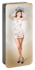 Modelling Pinup Girl Wearing Bow Hair Accessory Portable Battery Charger