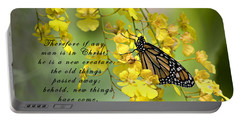 Monarch Butterfly With Scripture Portable Battery Charger