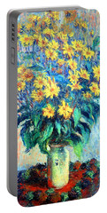 Portable Battery Charger featuring the photograph Monet's Jerusalem  Artichoke Flowers by Cora Wandel