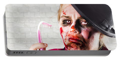 Monster Holding Sad Toothbrush. Rotting Teeth Portable Battery Charger