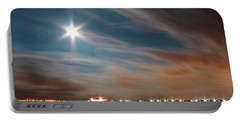 Moon Rise Over Anna Maria Island Historic City Pier Portable Battery Charger