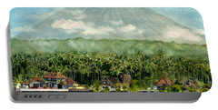 Portable Battery Charger featuring the painting Mt. Agung Bali Indonesia by Melly Terpening