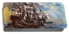 Portable Battery Charger featuring the painting My Ship by Laurie L