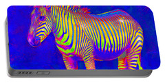 Neon Zebra 2 Portable Battery Charger by Jane Schnetlage