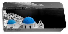 Oia Town On Santorini Island Greece Blue Dome Church Black And White. Portable Battery Charger