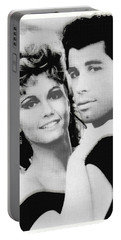 Olivia Newton John And John Travolta In Grease Collage Portable Battery Charger