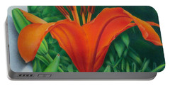 Orange Lily Portable Battery Charger by Pamela Clements