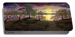 Portable Battery Charger featuring the painting Peaceful Sunset by Rebecca Parker