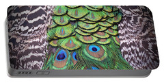 Portable Battery Charger featuring the photograph Peacock Plumage  by Jim Fitzpatrick