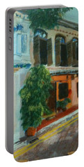 Portable Battery Charger featuring the painting Peranakan House by Belinda Low
