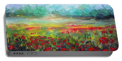 Poppy Fields Portable Battery Charger by Vesna Martinjak