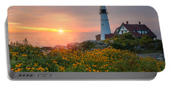 Portland Head Light Sunrise  Portable Battery Charger by Michael Ver Sprill