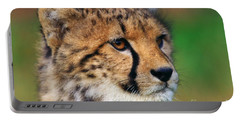 Portrait Of A Cheetah Cub Portable Battery Charger by Nick  Biemans