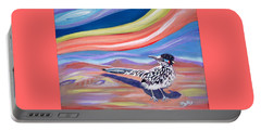 Portable Battery Charger featuring the painting Posy 2 The Roadrunner by Phyllis Kaltenbach