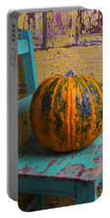 Pumpkin On Green Chair Portable Battery Charger