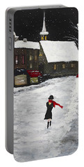 Red Scarf Winter Scene Portable Battery Charger