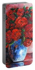 Portable Battery Charger featuring the painting Red Scent by Vesna Martinjak