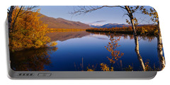 Reflection Of Trees And Mountains Portable Battery Charger