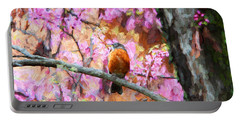 Portable Battery Charger featuring the photograph Robin In A Red Bud Tree by John Freidenberg