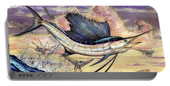 Sailfish And Flying Fish In The Sunset Portable Battery Charger