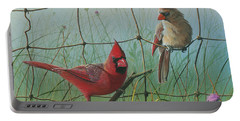 Portable Battery Charger featuring the painting Scarlet by Mike Brown