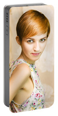 Short Haired Girl In Floral Dress Portable Battery Charger