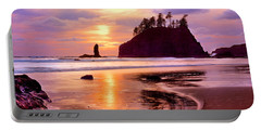 Silhouette Of Sea Stacks At Sunset Portable Battery Charger