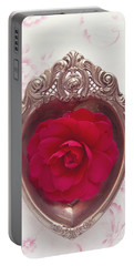 Silver Heart - Red Camellia Portable Battery Charger