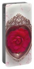 Silver Heart - Red Camellia Portable Battery Charger by Cindy Garber Iverson