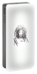 Portable Battery Charger featuring the drawing Simply Red by Laurie L