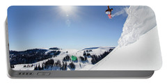 Snowboarder Jumping Portable Battery Charger