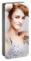 Soft Studio Portrait Of A Short Haired Beauty Portable Battery Charger