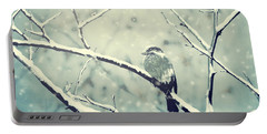 Sparrow On The Snowy Branch Portable Battery Charger