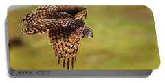 Spotted Eagle Owl In Flight Portable Battery Charger