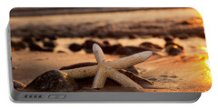 Starfish On The Beach At Sunset Portable Battery Charger