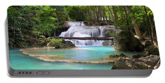 Stream With Waterfall In Tropical Forest Portable Battery Charger