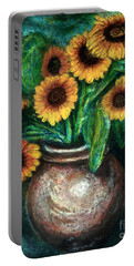 Portable Battery Charger featuring the pastel Sunflowers by Jasna Dragun